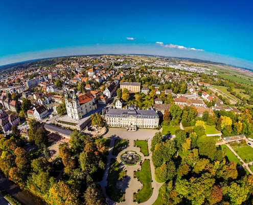 donaueschingen aus der luft 495x400 - Hotel bei Donaueschingen und Hüfingen