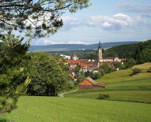 stadtansicht aus der weite bräunlingen 495x400 - Hotel Restaurant Lindenhof bei Donaueschingen im Schwarzwald