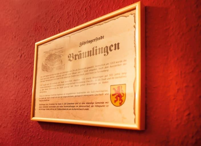 zaehringerzimmer schild braeunlingen 705x511 - Hotel Lindenhof near Donaueschingen: Rooms and prices